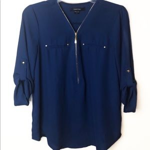 Paper Tee Blue Polyester Blouse, M